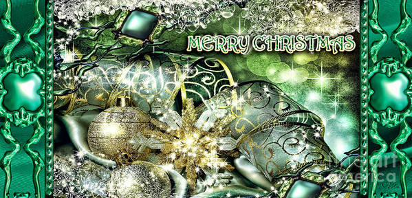 Merry Christmas Poster featuring the digital art Merry Christmas Green by Mo T