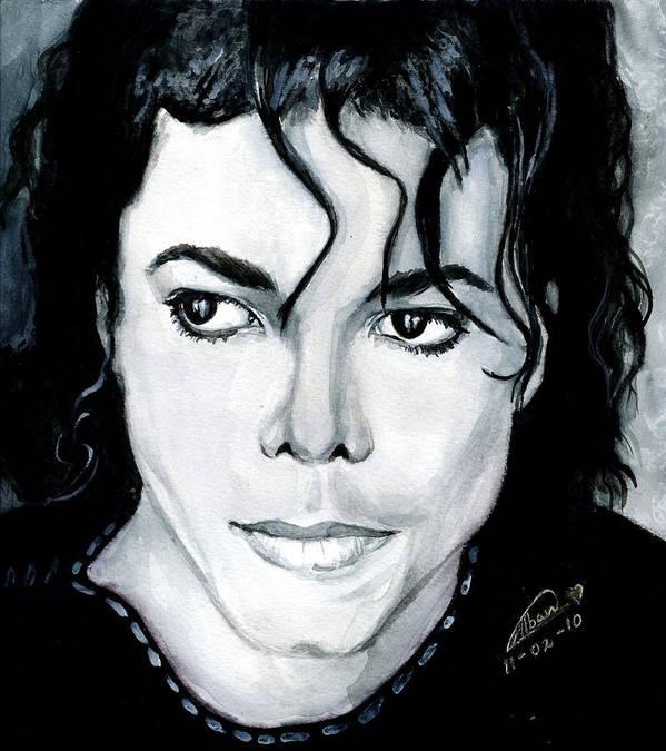 Michael Jackson Poster featuring the painting Michael Jackson Portrait by Alban Dizdari