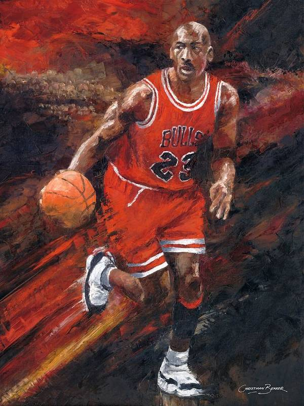Basketball Poster featuring the painting Michael Jordan Chicago Bulls Basketball Legend by Christiaan Bekker
