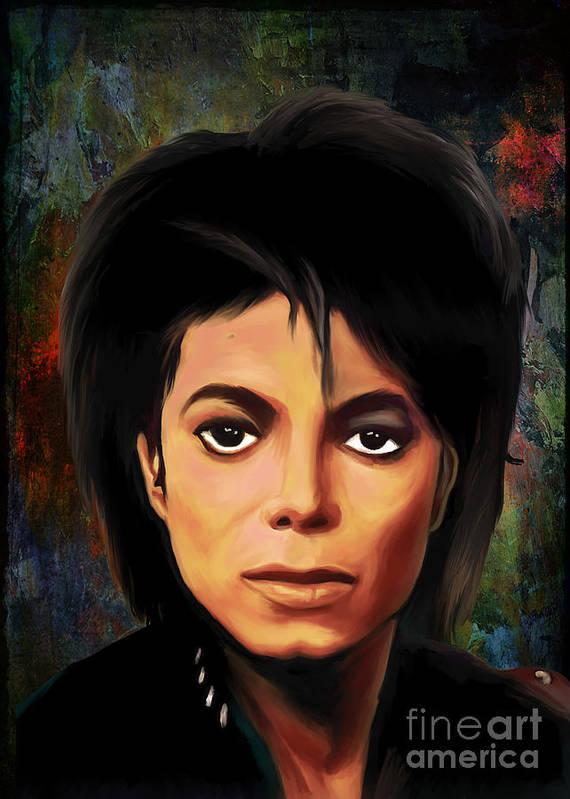Michael Poster featuring the painting Michael Joseph Jackson by Andrzej Szczerski