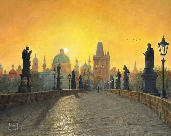 Landscape Poster featuring the painting Misty Dawn Charles Bridge Prague by Richard Harpum