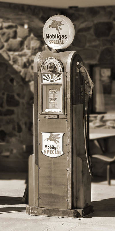Mobilgas Poster featuring the photograph Mobilgas Special - Wayne Pump - Sepia by Mike McGlothlen