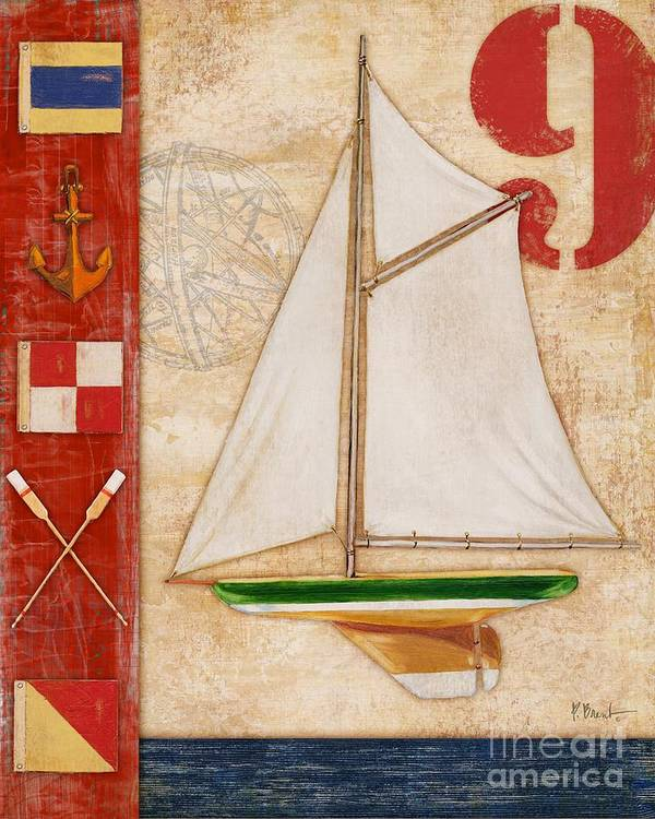 Red Poster featuring the painting Model Yacht Collage I by Paul Brent