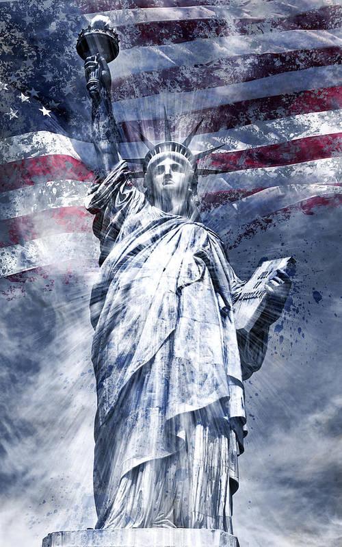 Manhattan Poster featuring the photograph Modern Art Statue Of Liberty Blue by Melanie Viola