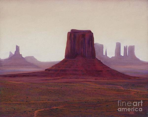 Monument Valley Poster featuring the painting Monument Valley- Haze by Xenia Sease