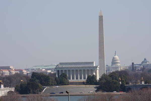 Lincoln Poster featuring the photograph Monument View From Iwo Jima Memorial - 12121 by DC Photographer
