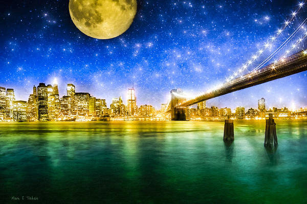 New York Poster featuring the photograph Moon Over Manhattan by Mark E Tisdale