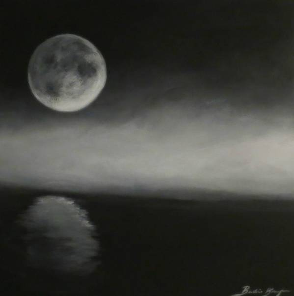 Moon Poster featuring the painting Moon Over The Shores by Barbie Baughman