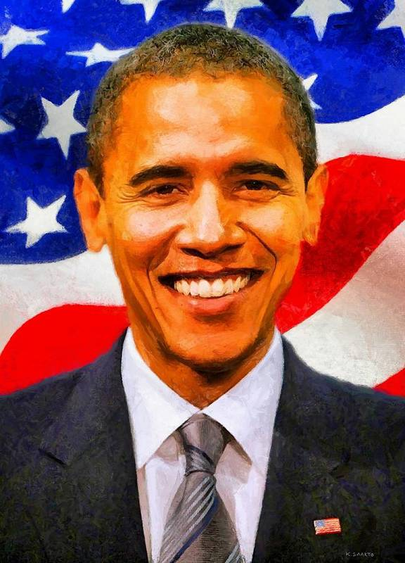 Barack Obama Poster featuring the digital art Mr. President by Kai Saarto