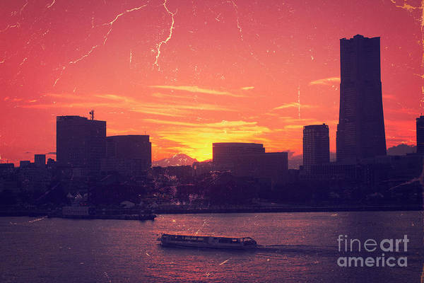 Sunset Poster featuring the photograph Mt Fuji At Sunset Over Yokohama Bay by Beverly Claire Kaiya