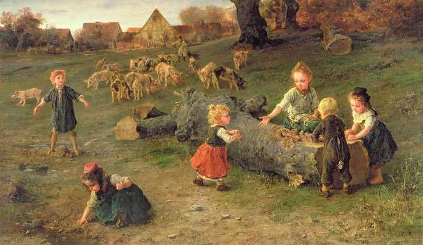 Mud Pies Poster featuring the painting Mud Pies by Ludwig Knaus