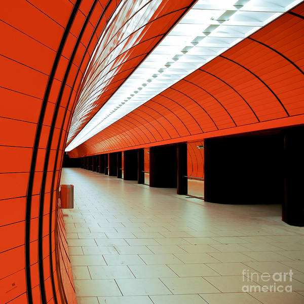 Orange Poster featuring the photograph Munich Subway I by Hannes Cmarits