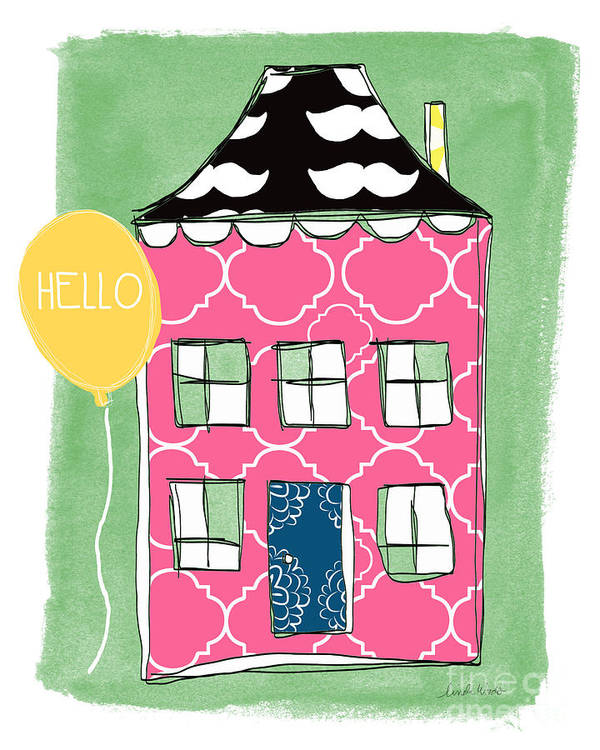 Mustache Poster featuring the mixed media Mustache House by Linda Woods
