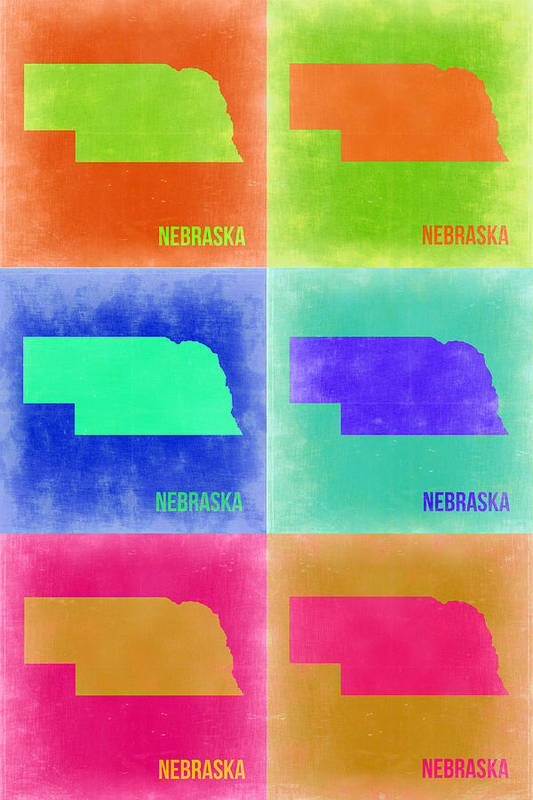 Nebraska Map Poster featuring the painting Nebraska Pop Art Map 2 by Naxart Studio