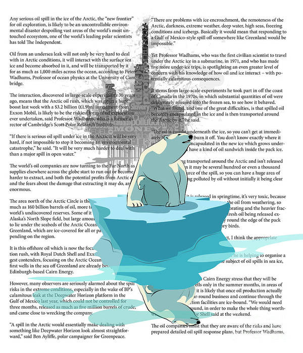 Polar Bear Poster featuring the digital art Need More Ice Not Oil by Sassan Filsoof