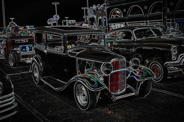 Deuce Poster featuring the photograph Neon Car Show by Steve McKinzie