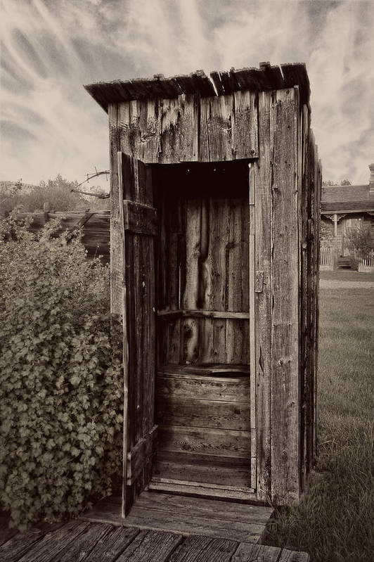 Outhouse Poster featuring the photograph Nevada City Ghost Town Outhouse - Montana by Daniel Hagerman