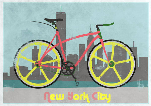 America Poster featuring the digital art New York Bike by Andy Scullion