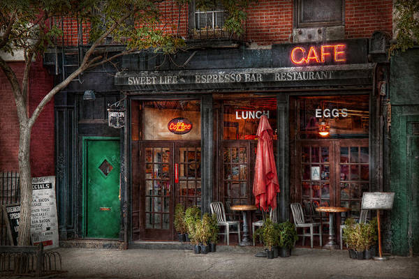 York Poster featuring the photograph New York - Store - Greenwich Village - Sweet Life Cafe by Mike Savad