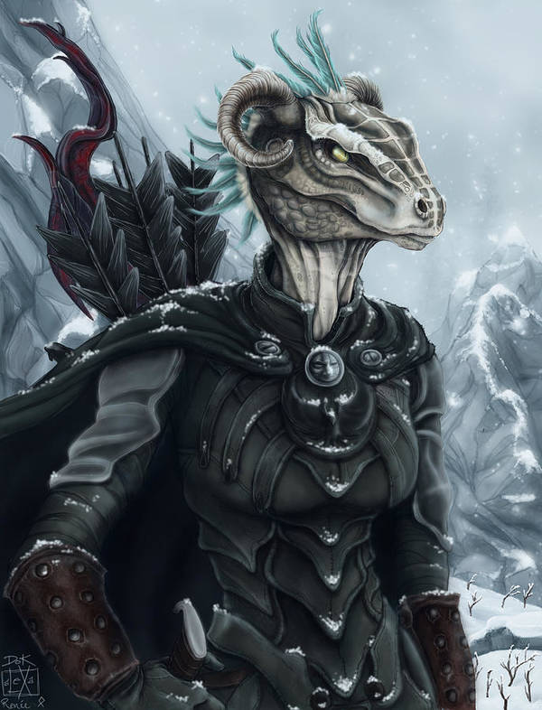 Argonian Poster featuring the painting Niddhoga The Thief by Alexa-Renee Smothers