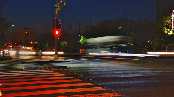 Boston Poster featuring the photograph Night Streaks by Joann Vitali