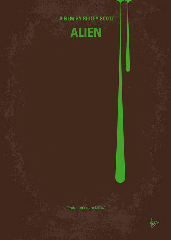 Alien Poster featuring the digital art No004 My Alien Minimal Movie Poster by Chungkong Art