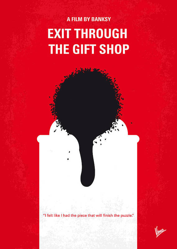Exit Poster featuring the digital art No130 My Exit Through The Gift Shop Minimal Movie Poster by Chungkong Art