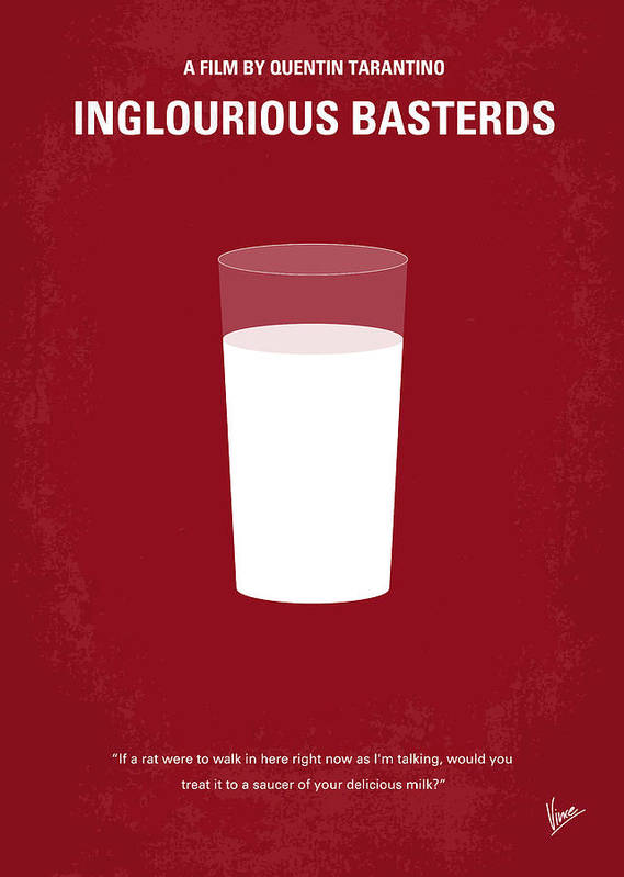 Inglourious Poster featuring the digital art No138 My Inglourious Basterds Minimal Movie Poster by Chungkong Art