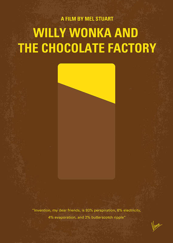 Willy Poster featuring the digital art No149 My Willy Wonka And The Chocolate Factory Minimal Movie Poster by Chungkong Art