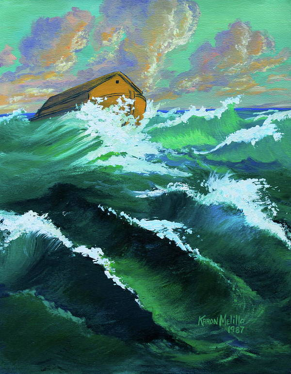 Noah Poster featuring the painting Noah's Ark by Karon Melillo DeVega