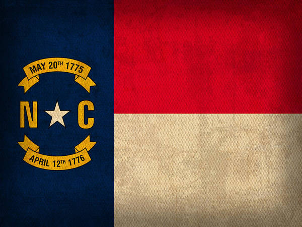 North Poster featuring the mixed media North Carolina State Flag Art On Worn Canvas by Design Turnpike