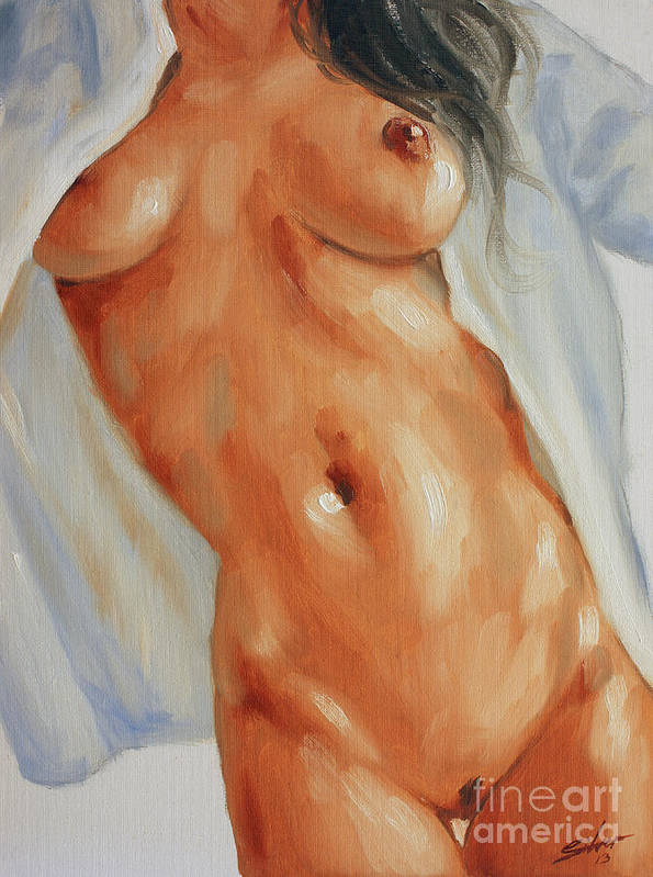 Paintings Poster featuring the painting Nude In Shirt II by John Silver