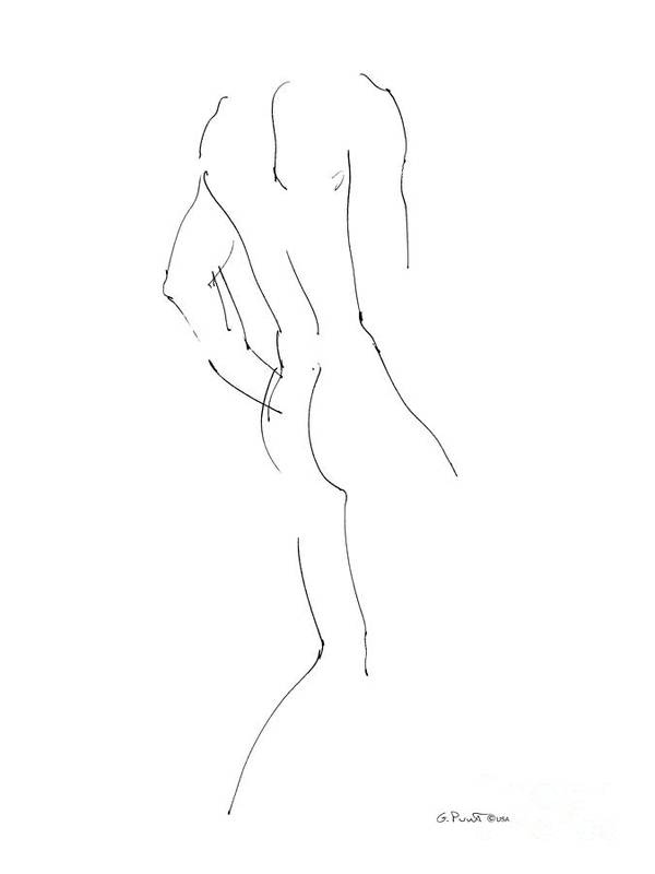 Male Poster featuring the drawing Nude Male Drawings 2 by Gordon Punt