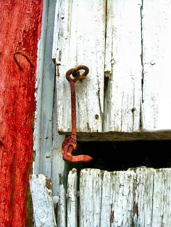 Barns Poster featuring the photograph Old Barn Door Hook by Julie Dant