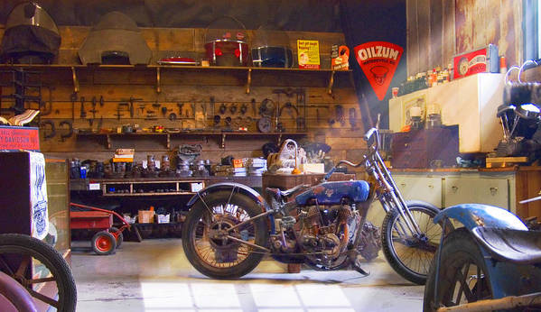Motorcycle Shop Poster featuring the photograph Old Motorcycle Shop 2 by Mike McGlothlen