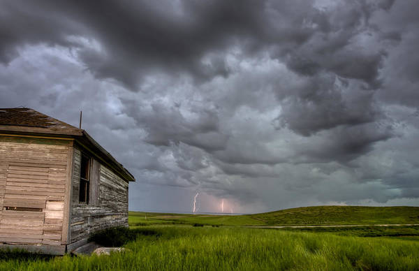 Prairie Poster featuring the photograph Old School House And Lightning by Mark Duffy
