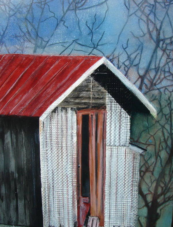 Building Poster featuring the painting Old Shed by Shirley Shepherd