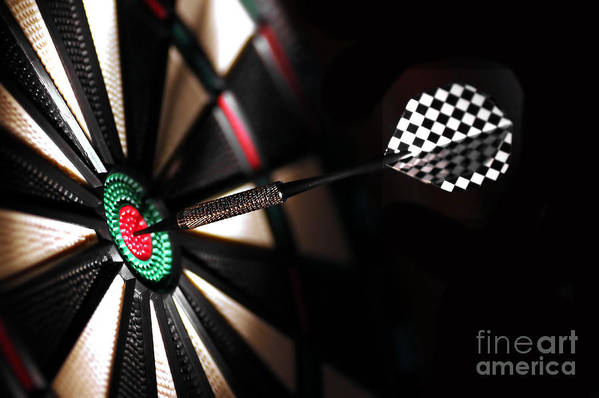 Accurate Poster featuring the photograph One Arrow In The Centre Of A Dart Board by Michal Bednarek
