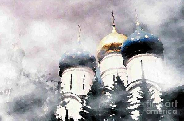 Church Poster featuring the photograph Onion Domes In The Mist by Sarah Loft