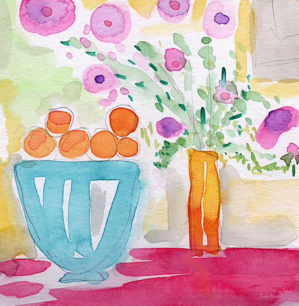 Oranges Poster featuring the painting Oranges In Blue Bowl- Watercolor Painting by Linda Woods