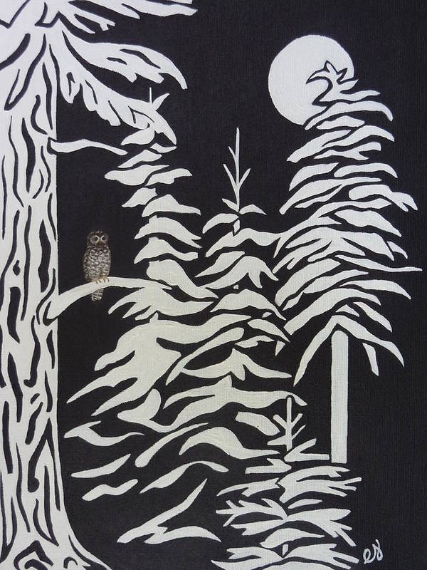 Forest Poster featuring the painting Oregon Forest by Estephy Sabin Figueroa