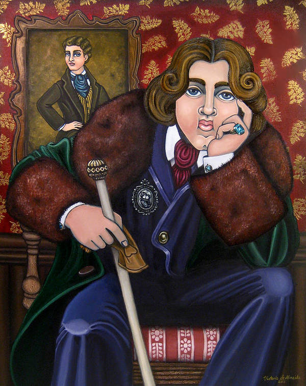 Hispanic Art Poster featuring the painting Oscar Wilde And The Picture Of Dorian Gray by Victoria De Almeida