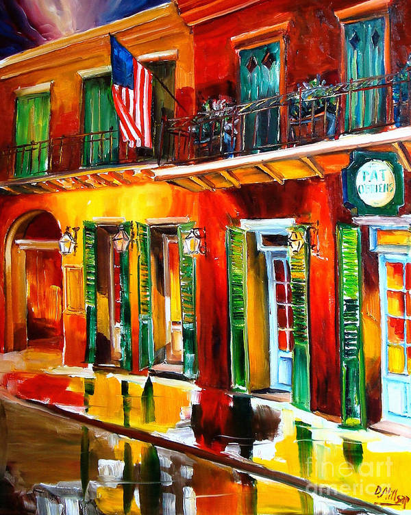 New Orleans Poster featuring the painting Outside Pat O'brien's Bar by Diane Millsap
