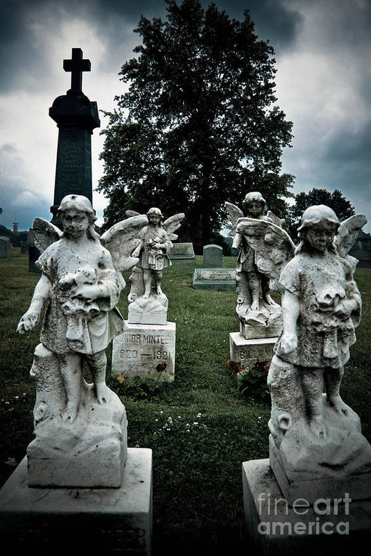 Afterlife Poster featuring the photograph Parade Of Angels Statues At Cemetery by Amy Cicconi