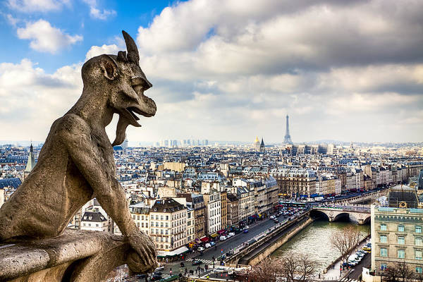 Notre Dame Poster featuring the photograph Parisian Gargoyle Admires The Skyline by Mark E Tisdale