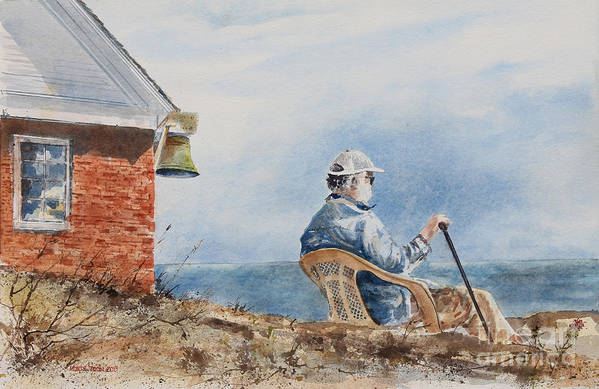 A Gentleman Looks To Sea At The Pemaquid Point Lighthouse On Mid-coast Maine.  Poster featuring the painting Passing Time by Monte Toon