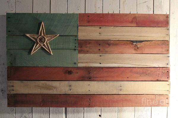 Wood Poster featuring the sculpture Patriotic Wood Flag by John Turek