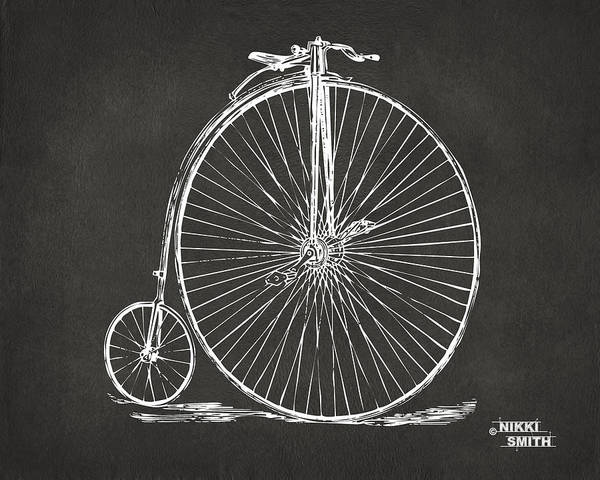 Penny-farthing Poster featuring the drawing Penny-farthing 1867 High Wheeler Bicycle Patent - Gray by Nikki Marie Smith