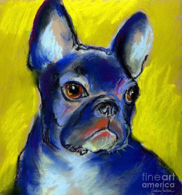 French Bulldog Poster featuring the painting Pensive French Bulldog Portrait by Svetlana Novikova