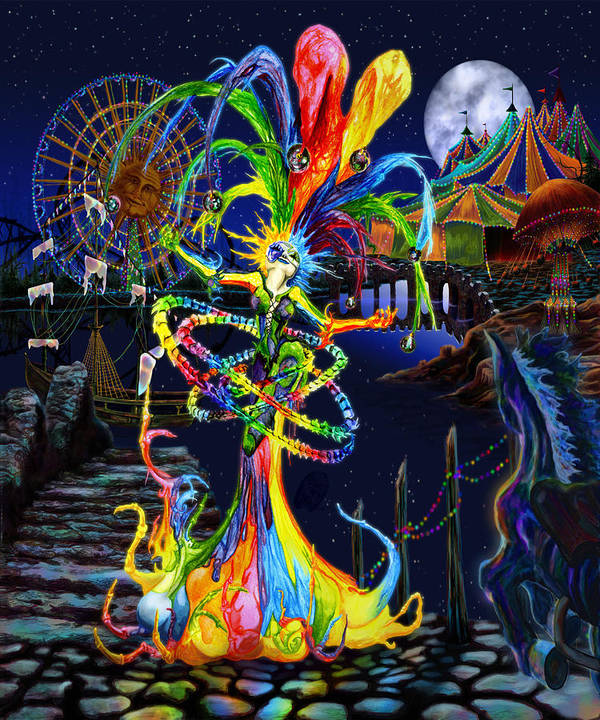 Cirque Du Soleil Poster featuring the digital art Phantom Carnival by Kd Neeley
